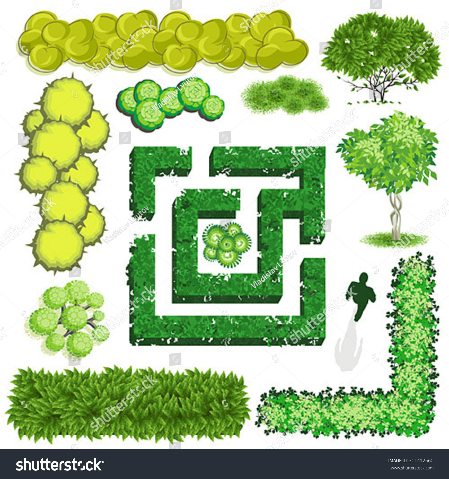 Trees Bush Item Top View Landscape Stock Vector 301412660 ...