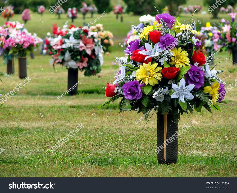 Colorful silk flower vases summer cemetery stock photo royalty free colorful silk flower vases summer cemetery stock photo royalty free 30142318 shutterstock mightylinksfo