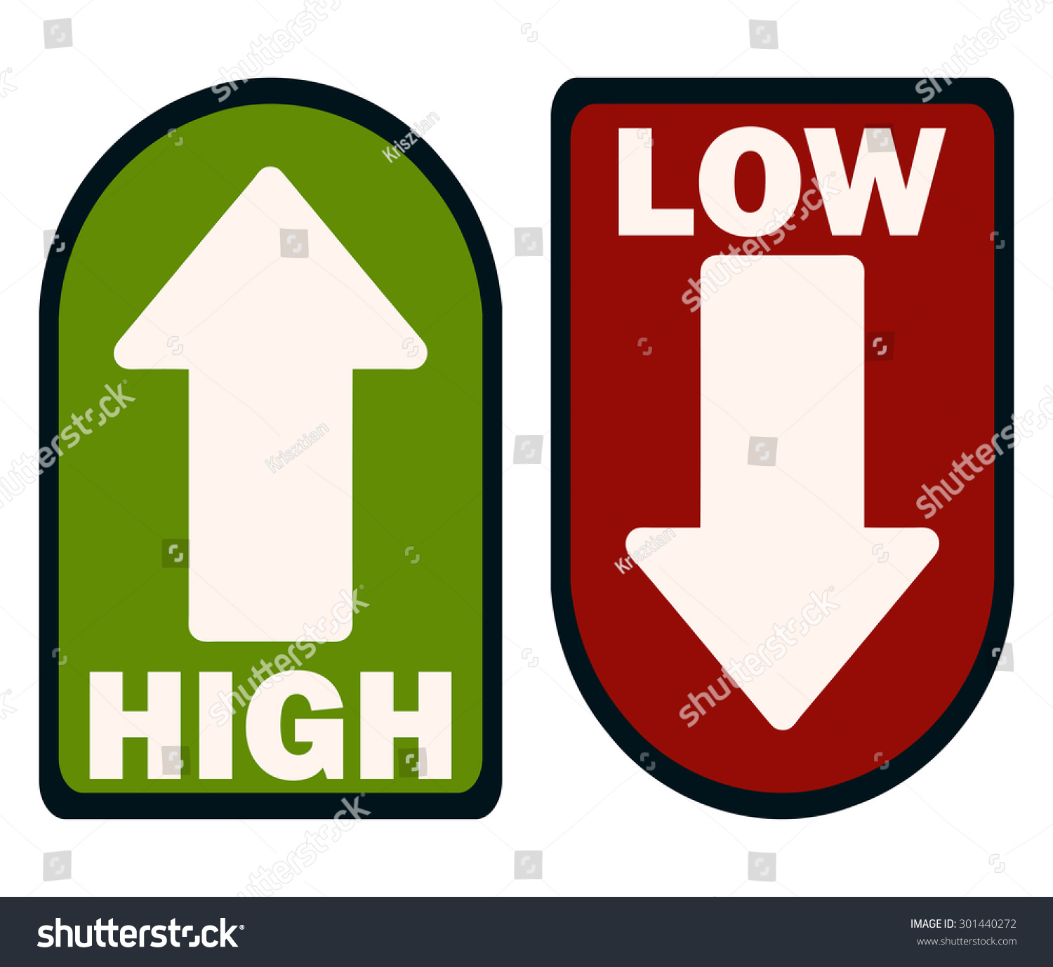 Http Www Shutterstock Com Pic 301440272 Stock Vector Green High And Red Low Arrow Signs Vector Illustration Html