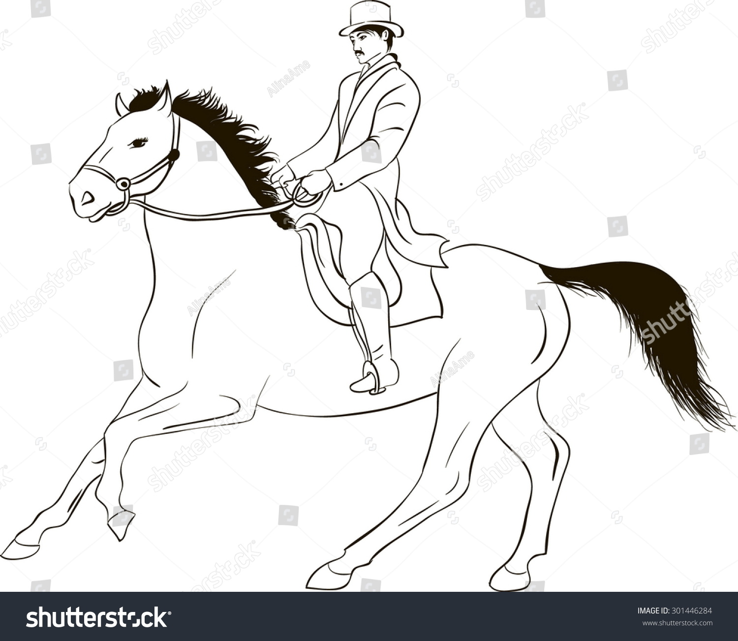 Drawing Of Line Art Of A Prancing Horse With A Rider