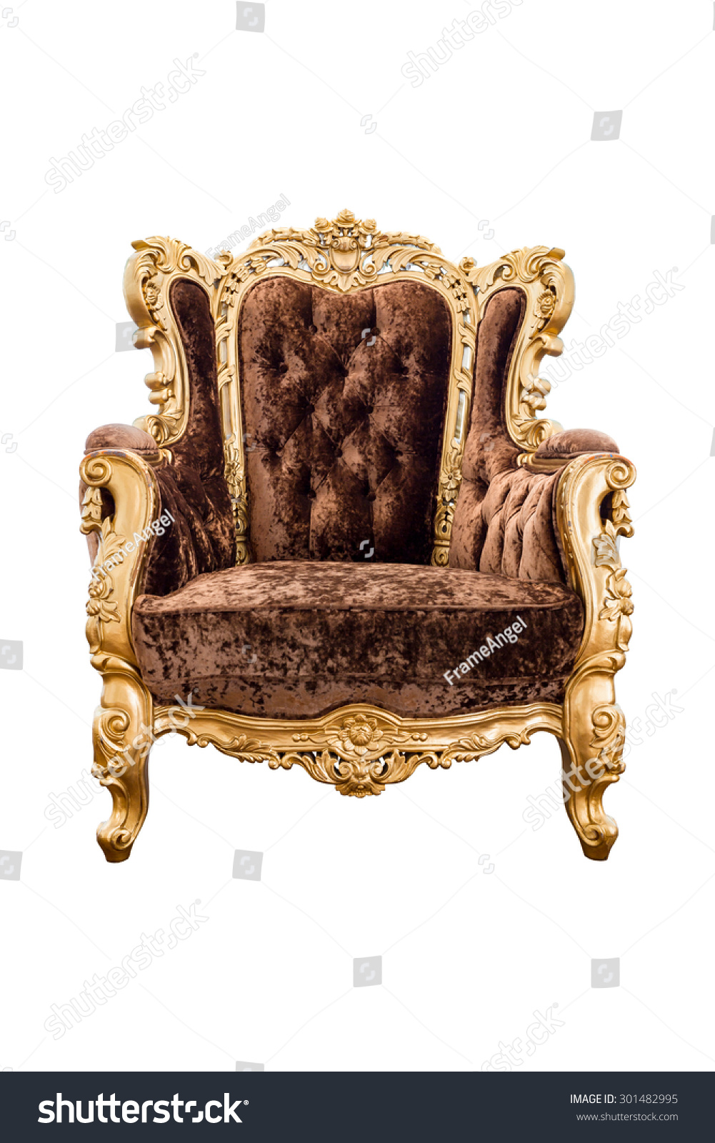 Old Vintage Brown Velvet Classic Armchair With Gold Color Isolated On White  Background