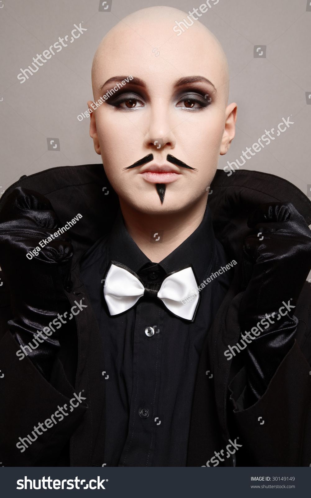 Skinhead Girl Black Clothes False Mustache Stock Photo Edit Now