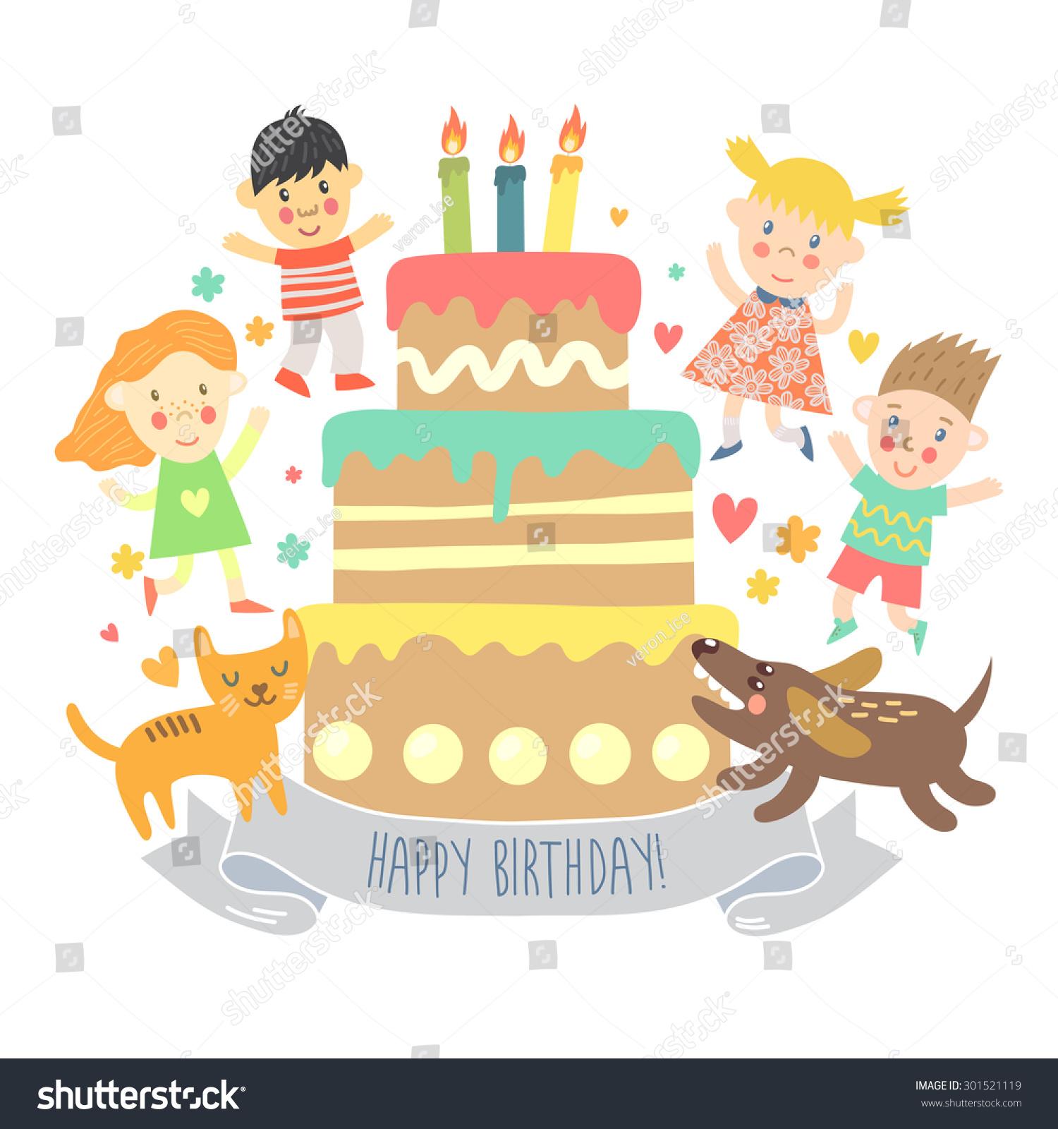 Happy Birthday Greeting Card Kids Cat Stock Vector Royalty Free