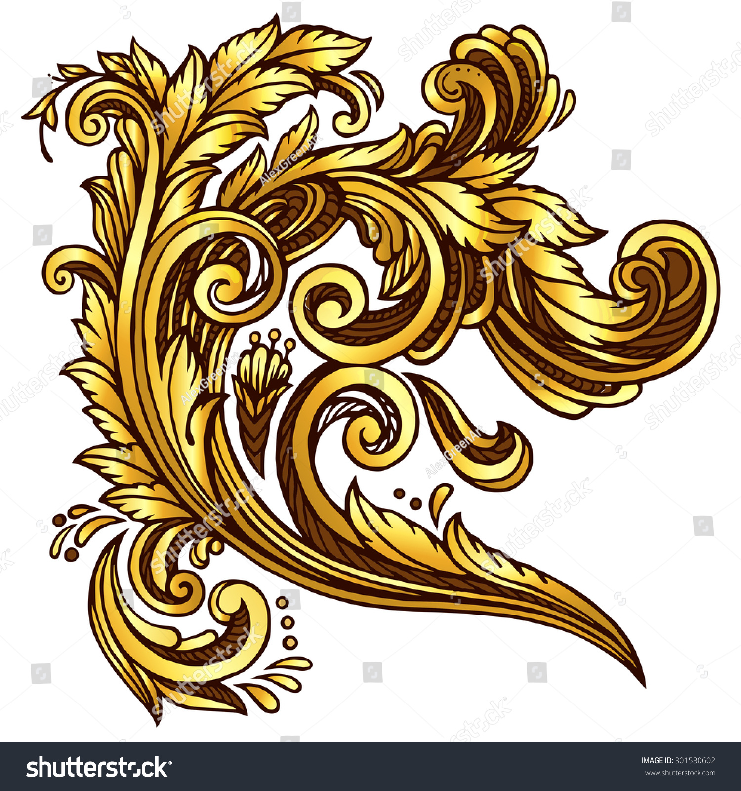 Golden baroque design element stock vector illustration for Baroque design elements