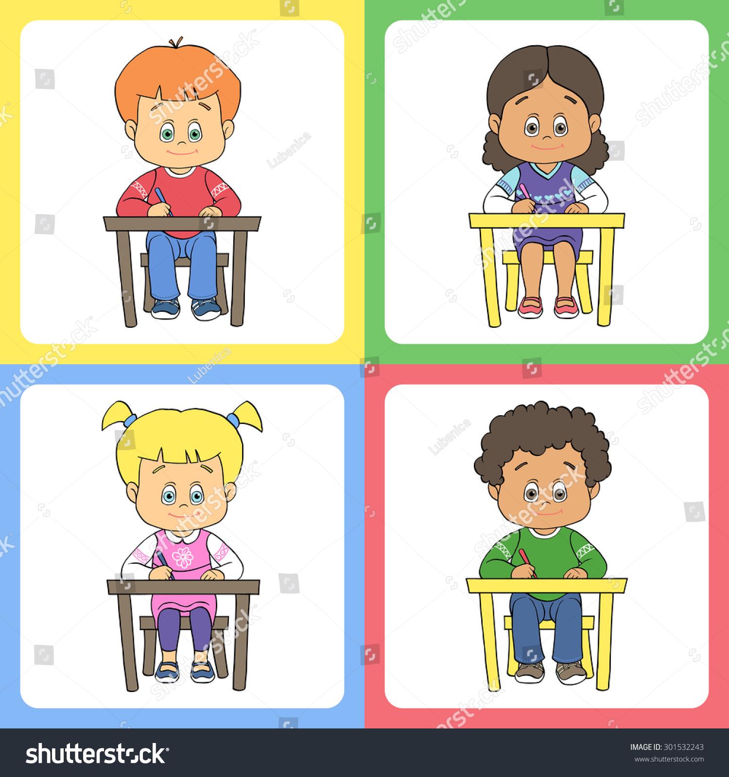 Art Girls Virtual Preschool: Colorful Set Of Cartoon Cute Boys And Girls At School