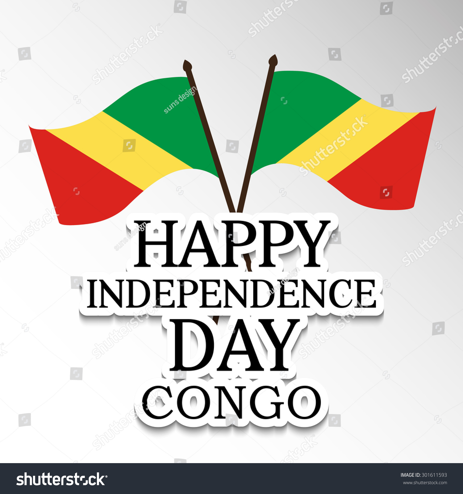Vector Illustration Flag Stylish Text Congo Stock Vector - Congo independence day