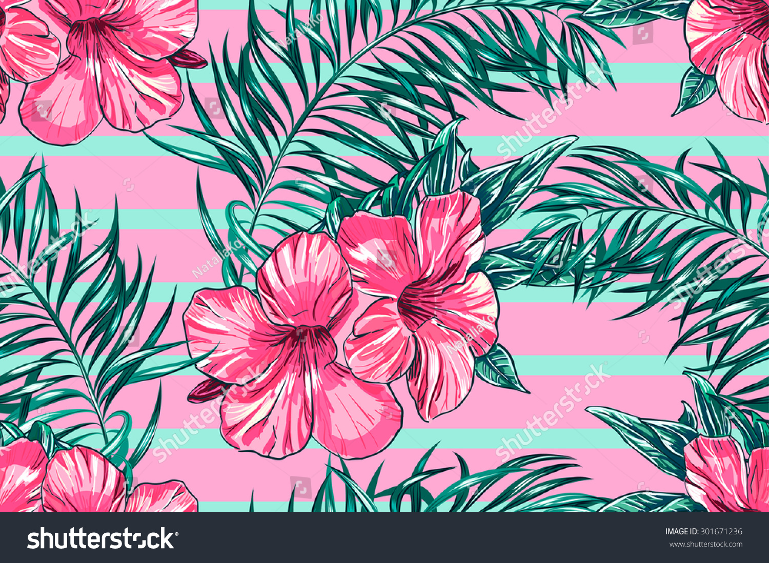 Tropical Flowers Palm Leaves Hibiscus Strips Stock Vector