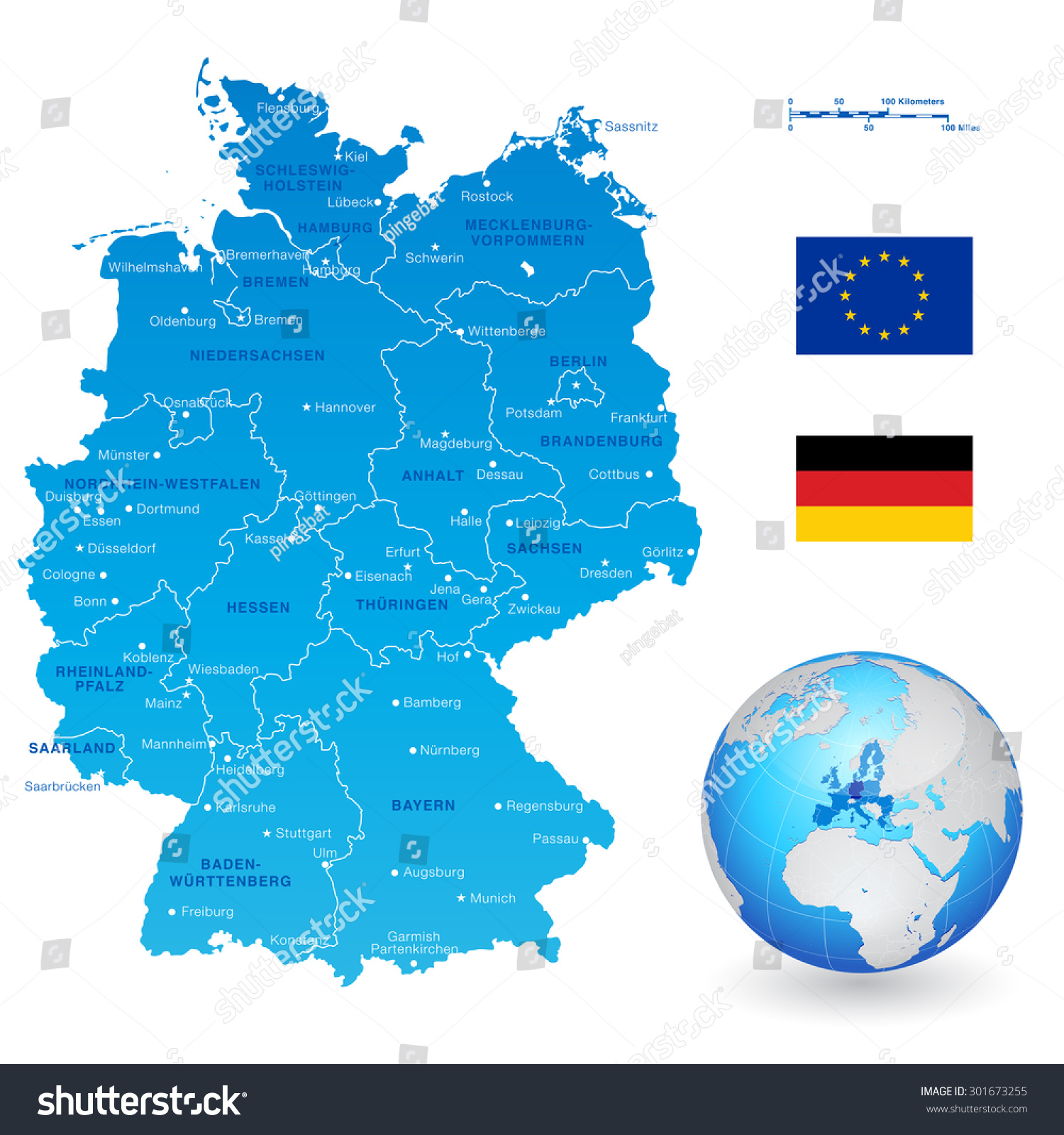 High Detail Vector Map Germany States Stock Vector (Royalty Free ...