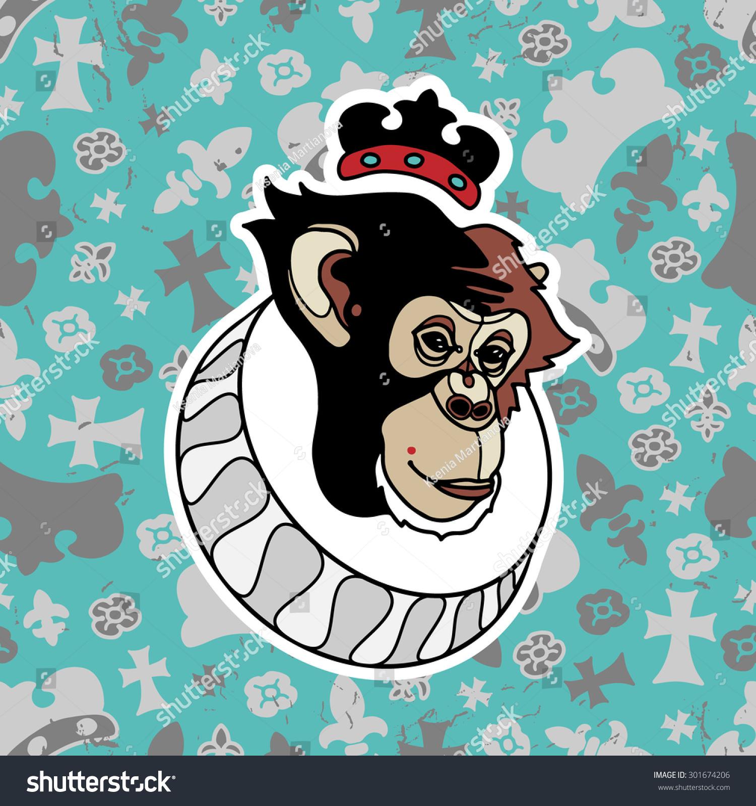 Monkey Crown Grunge Seamless Pattern Heraldry Stock Vector Royalty