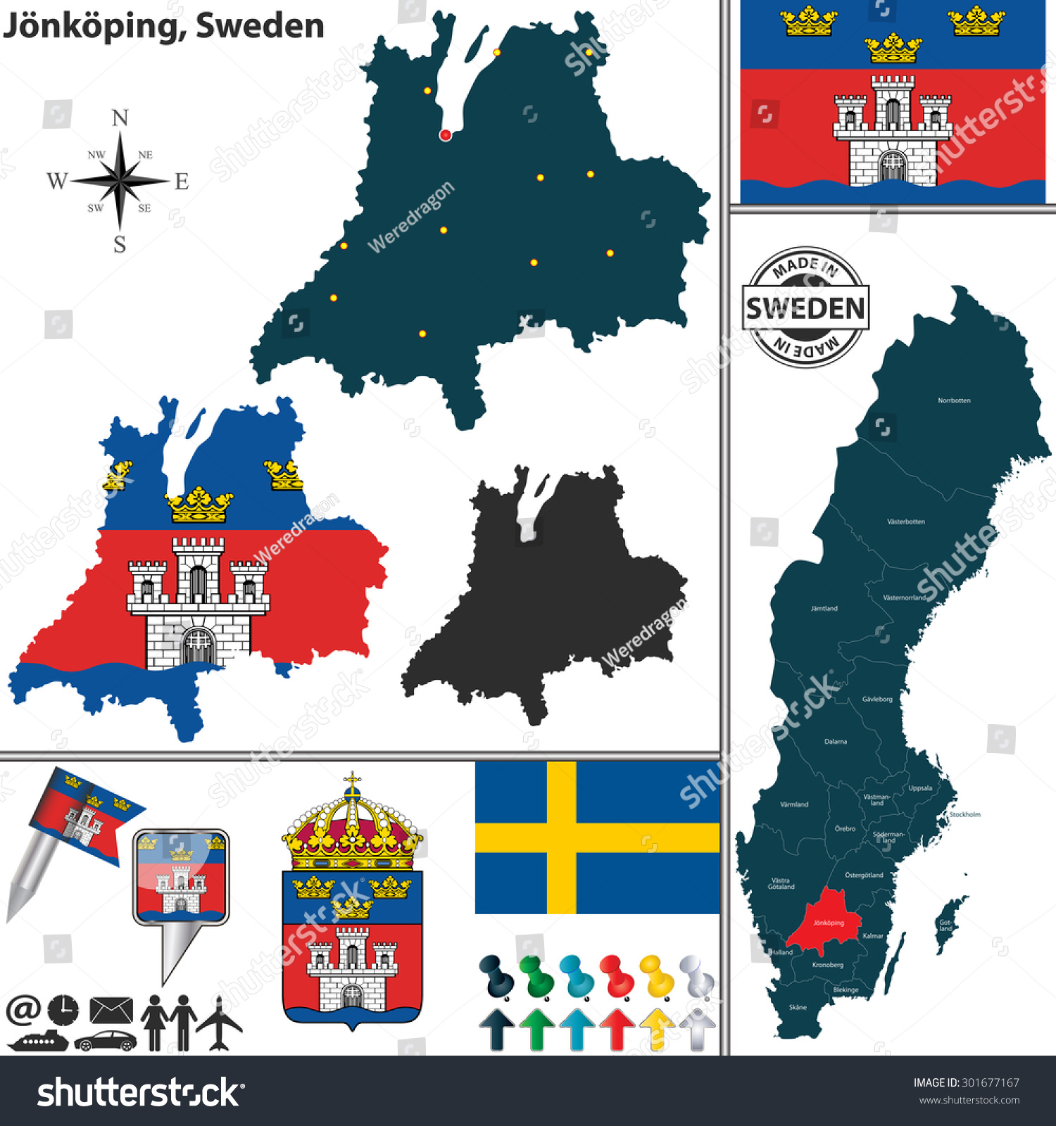 Vector Map County Jonkoping Coat Arms Stock Vector - Sweden map jönköping