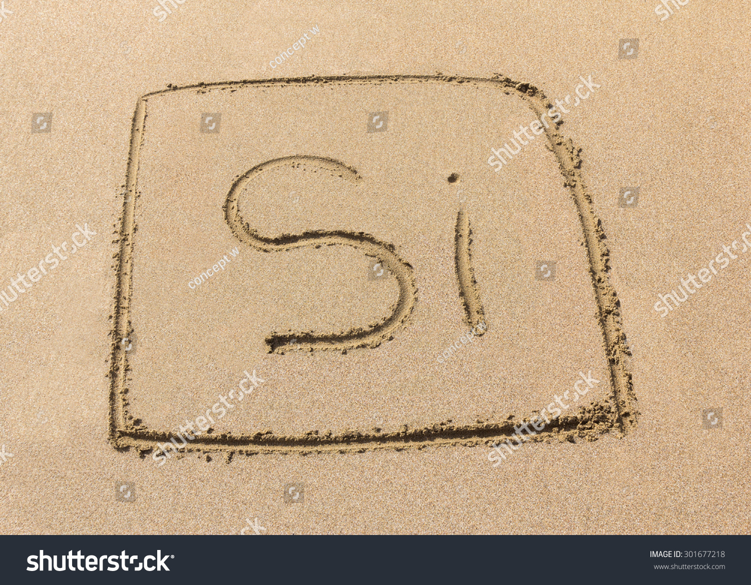 Silicon symbol drawn on sand stock photo 301677218 shutterstock silicon symbol drawn on sand biocorpaavc Image collections