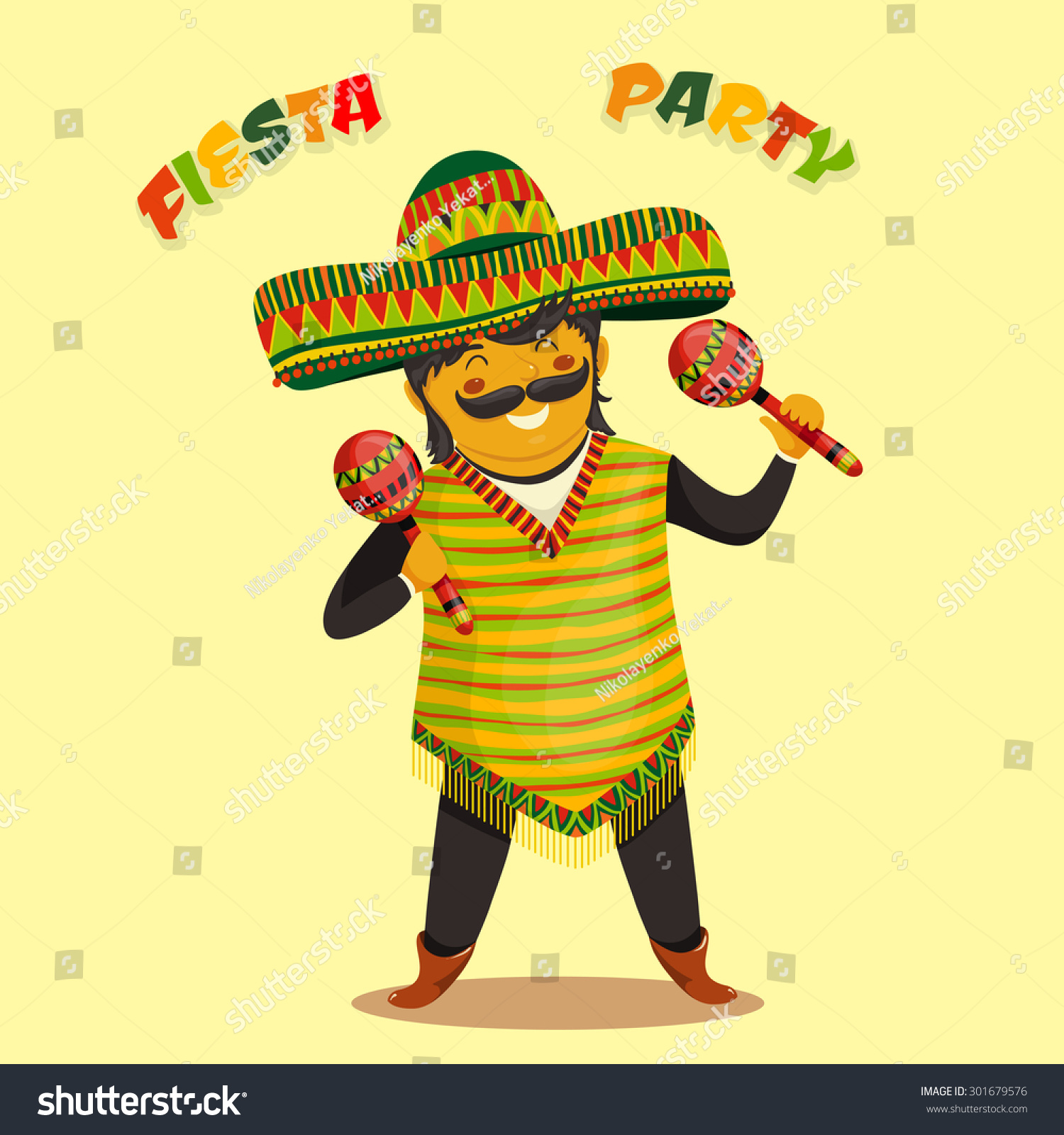 Mexican Fiesta Party Invitation Mexican Man Stock Vector 301679576 ...