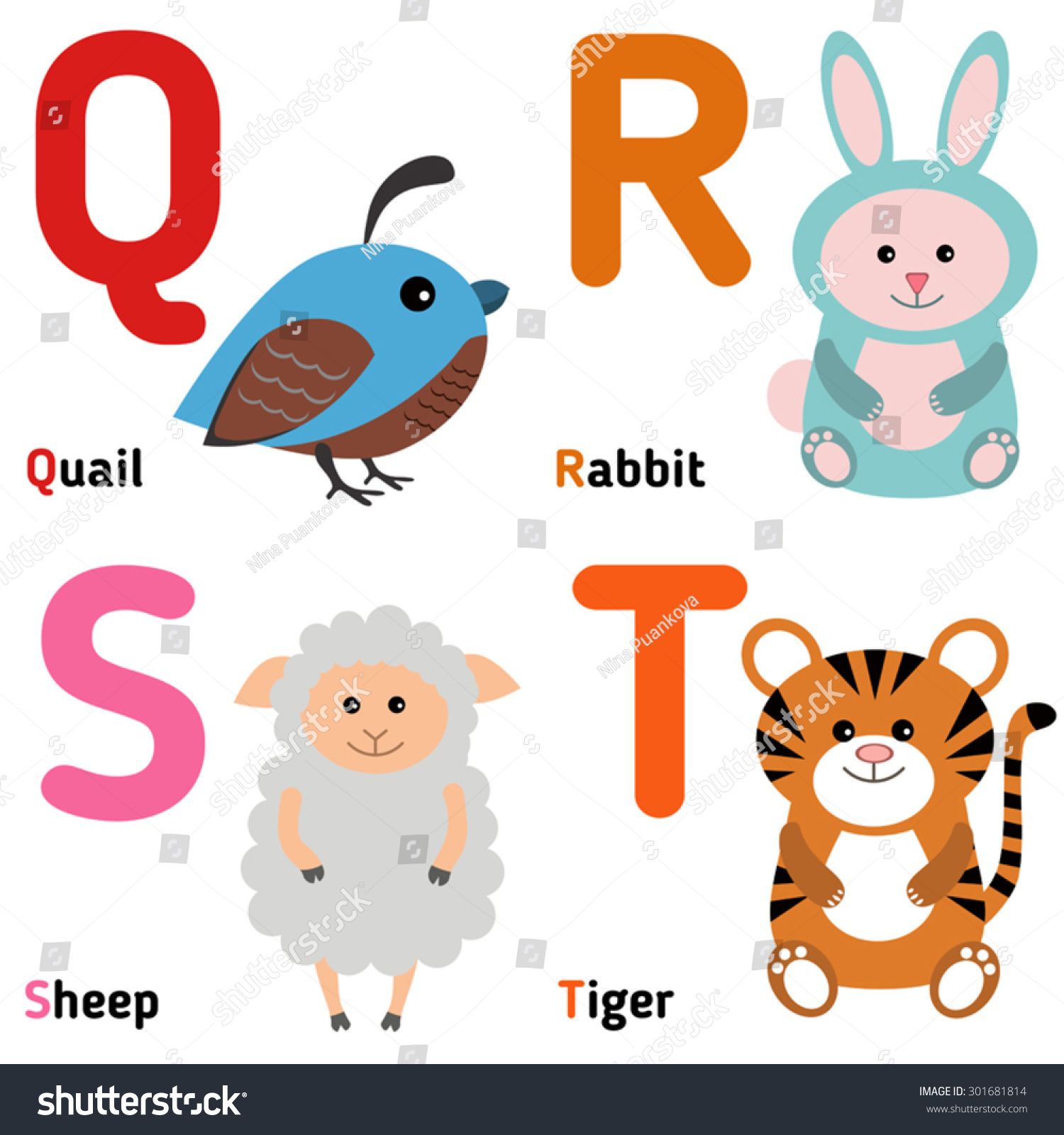 animals that start with the letter q zoo alphabet vector q r stock vektor 301681814 20191