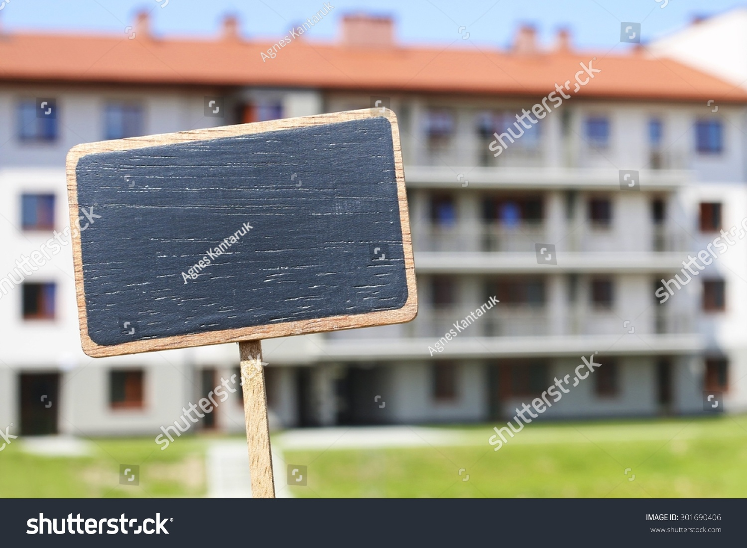 Blackboard Label Apartment Building Background Copy Stock ...
