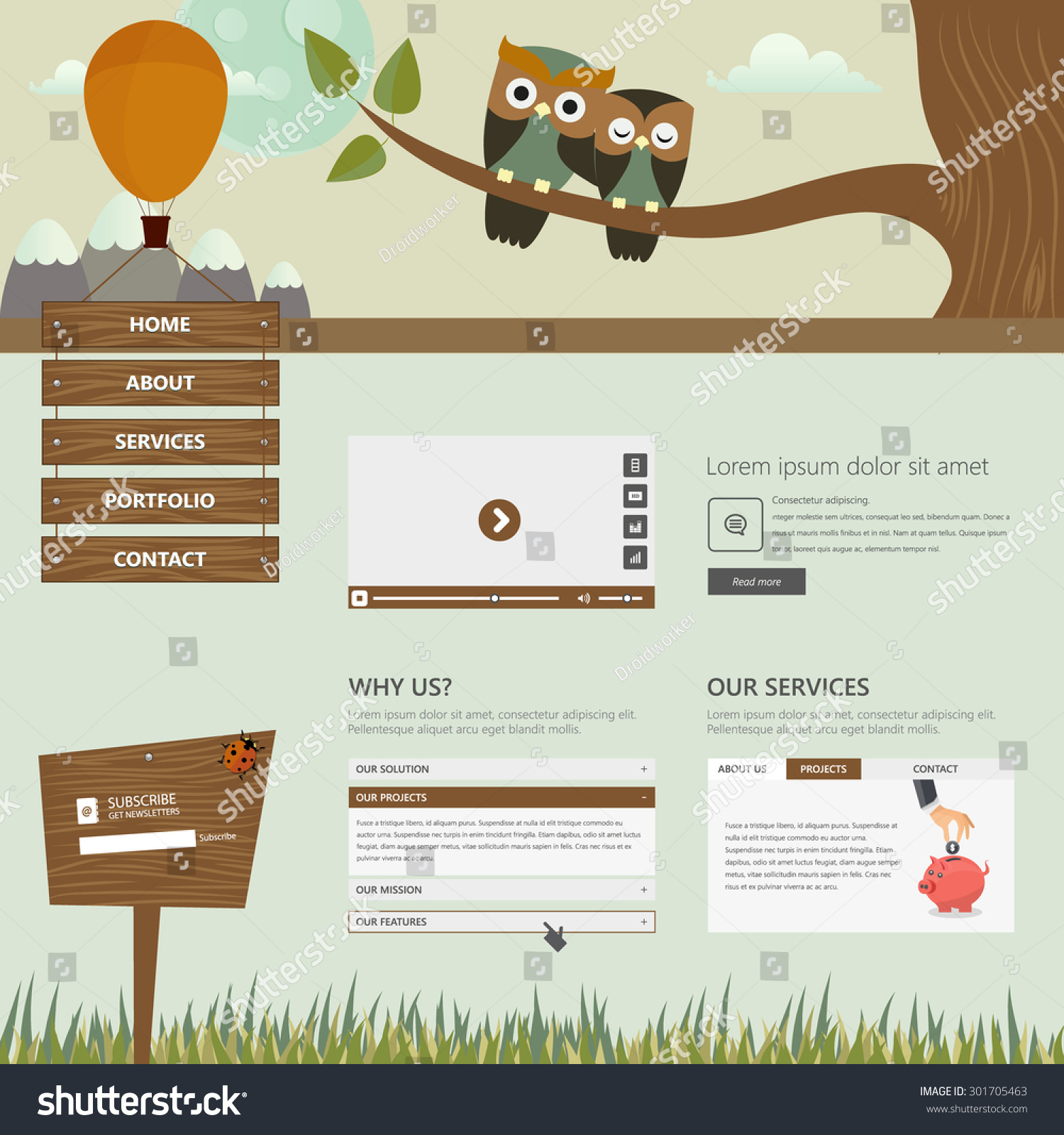 flat creative website templates cute owls stock vector royalty free