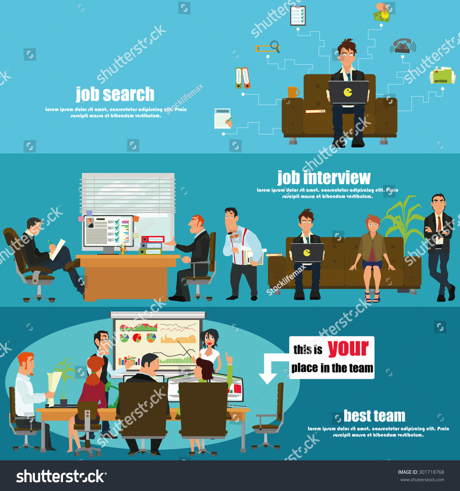 recruitment flat banner set job search stock vector 301718768 recruitment flat banner set job search job interview and your place in the team