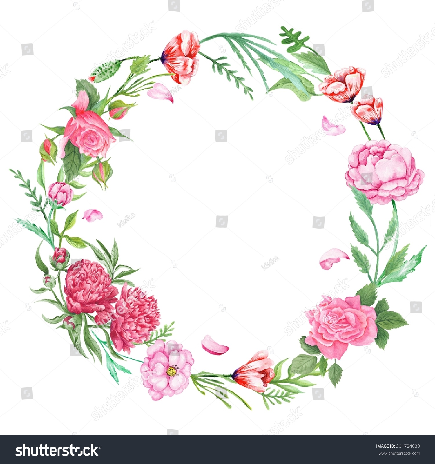 Shabby Chic Floral Wreath Handpainted Watercolor Stock Illustration ...