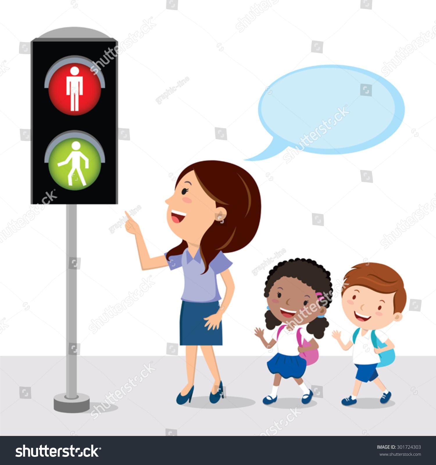 Pedestrian Traffic Light Teacher Showing School Stock Vector