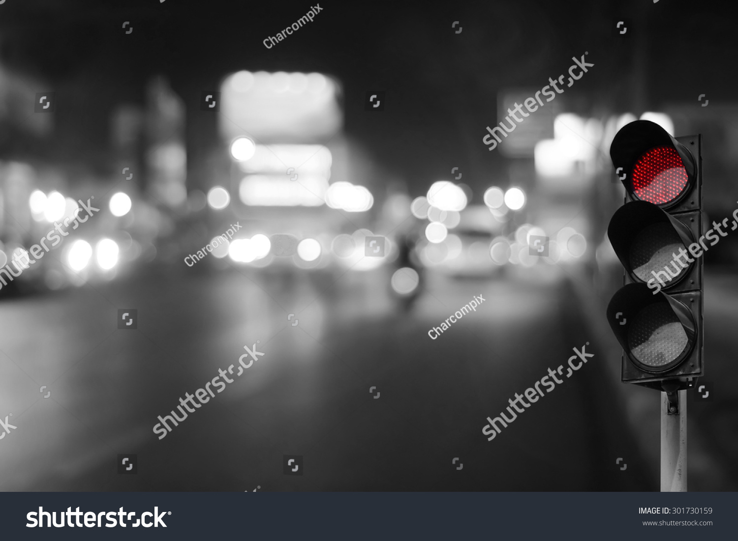 Red Traffic Light On Road Night Stock Photo 301730159 - Shutterstock for Traffic Light On Road At Night  181obs
