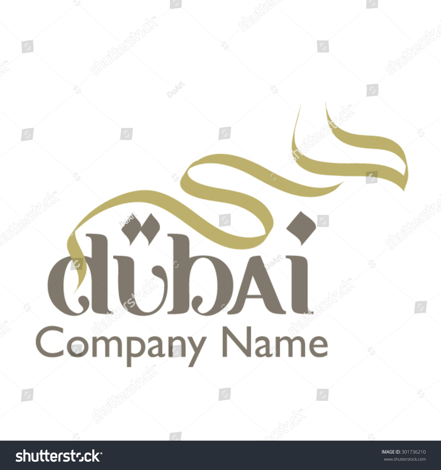 Dubai logo illustrator file created by stock vector Calligraphy logo