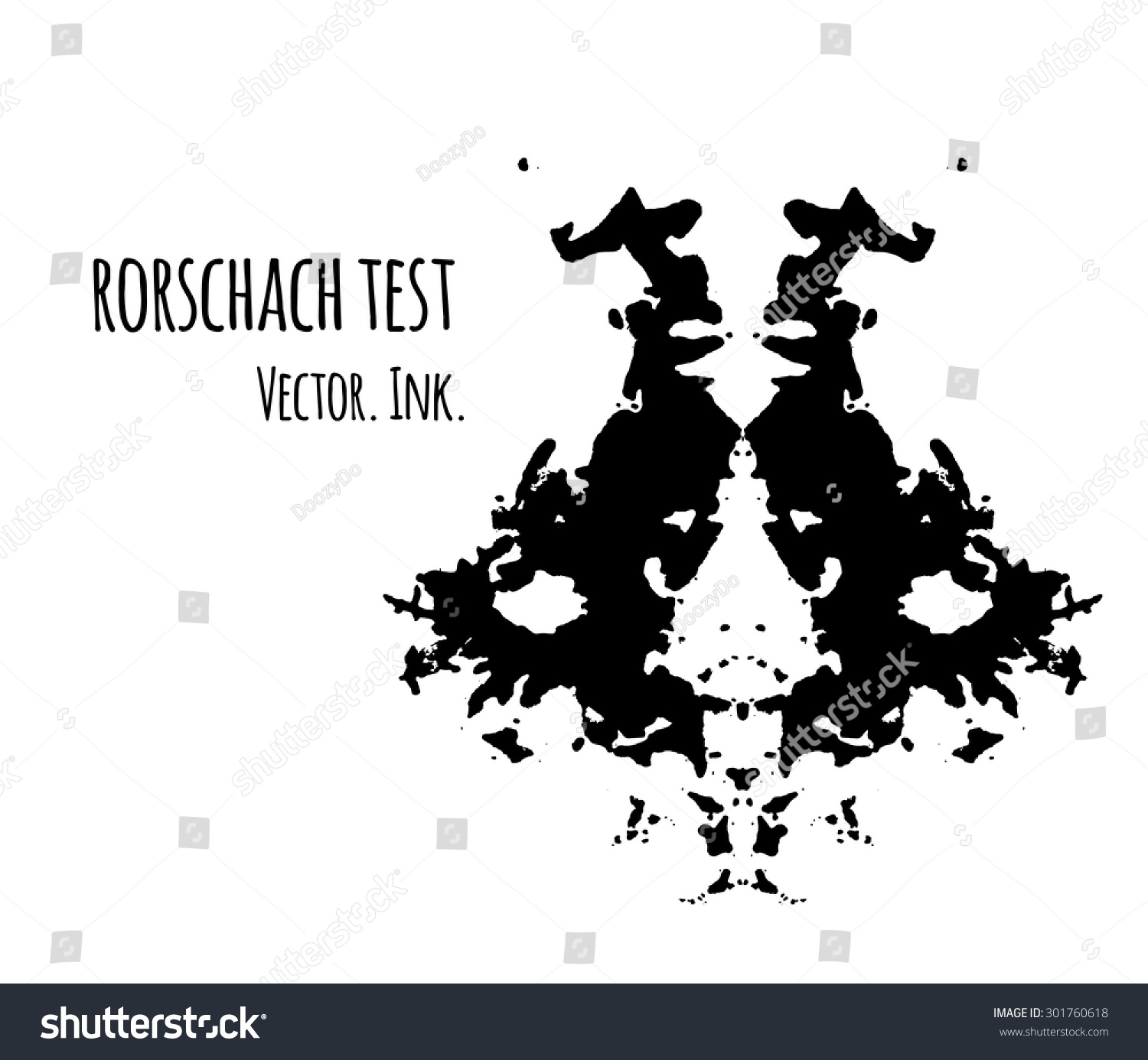 Rorschach Test Inkblot Vector Illustration Abstract Stock