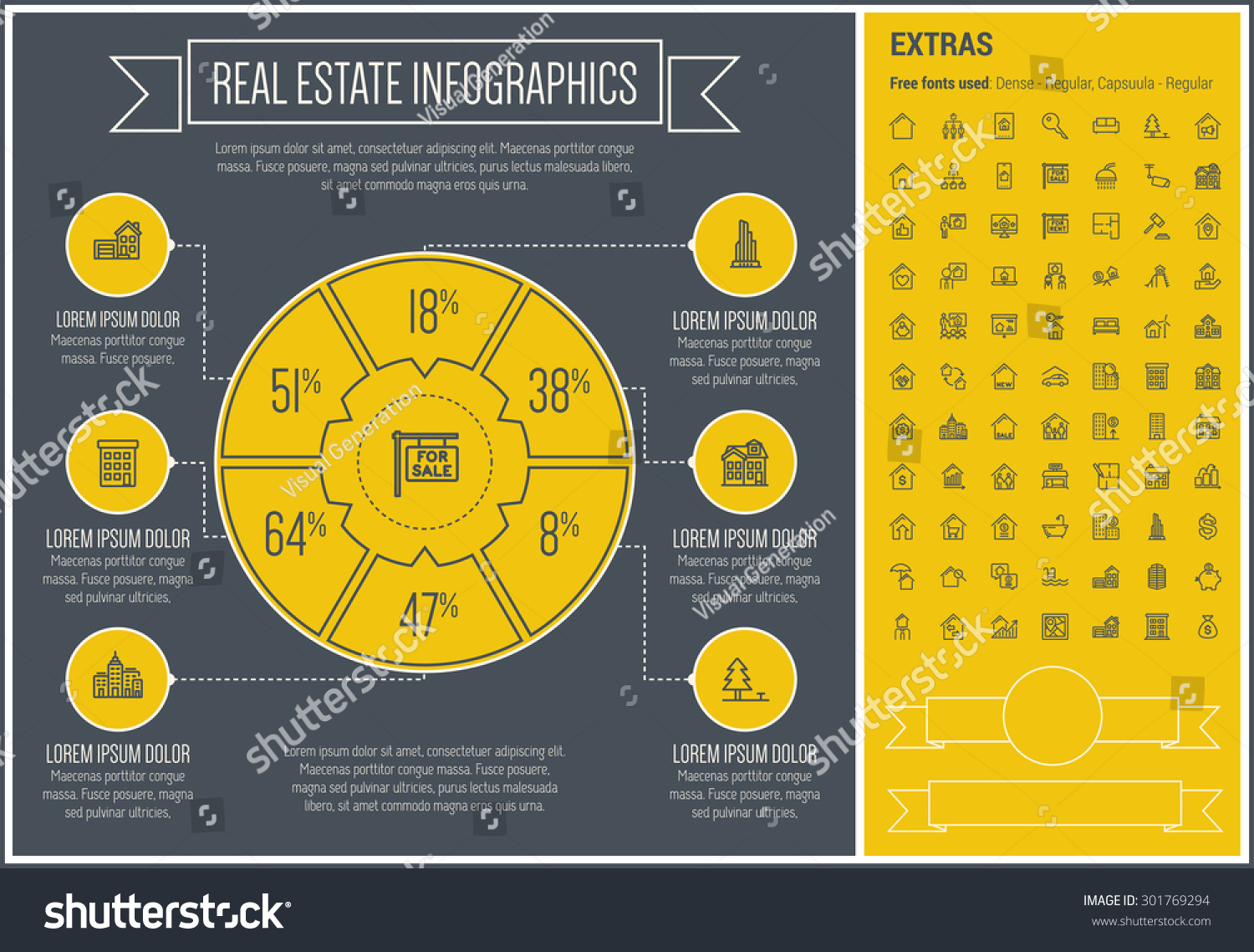 real estate infographic template elements template stock vector