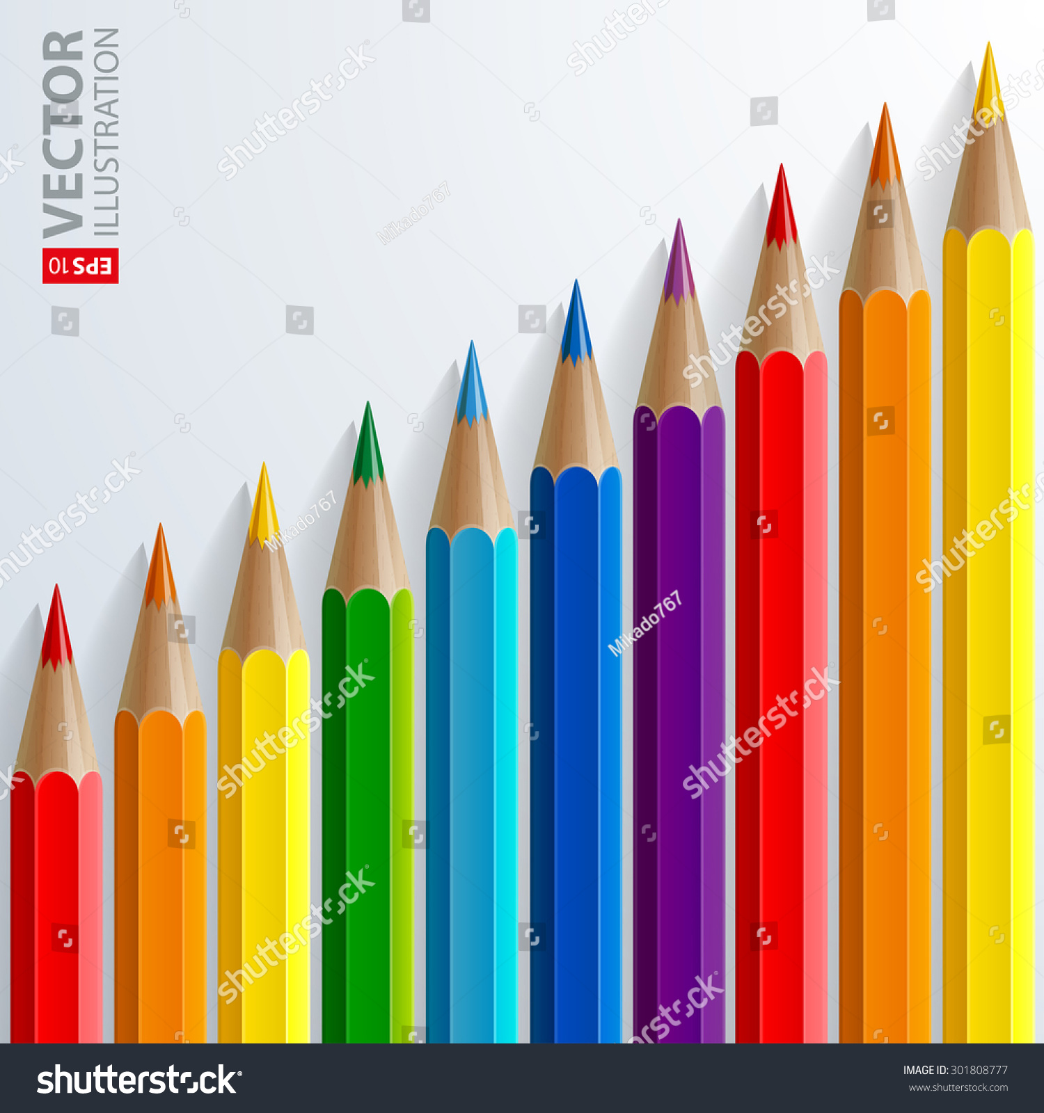 Color chart rainbow - Infographic Rainbow Color Pencils With Realistic Shadows Diagonal Growth Chart On White Background Rgb Eps
