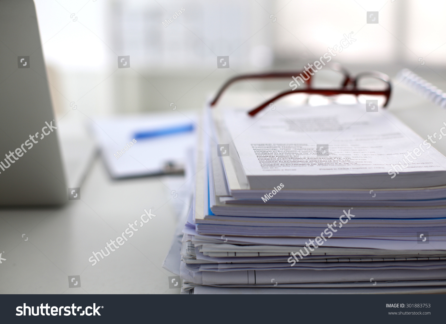 Office Desk Stack Computer Paper Reports Stock Photo 301883753 ...