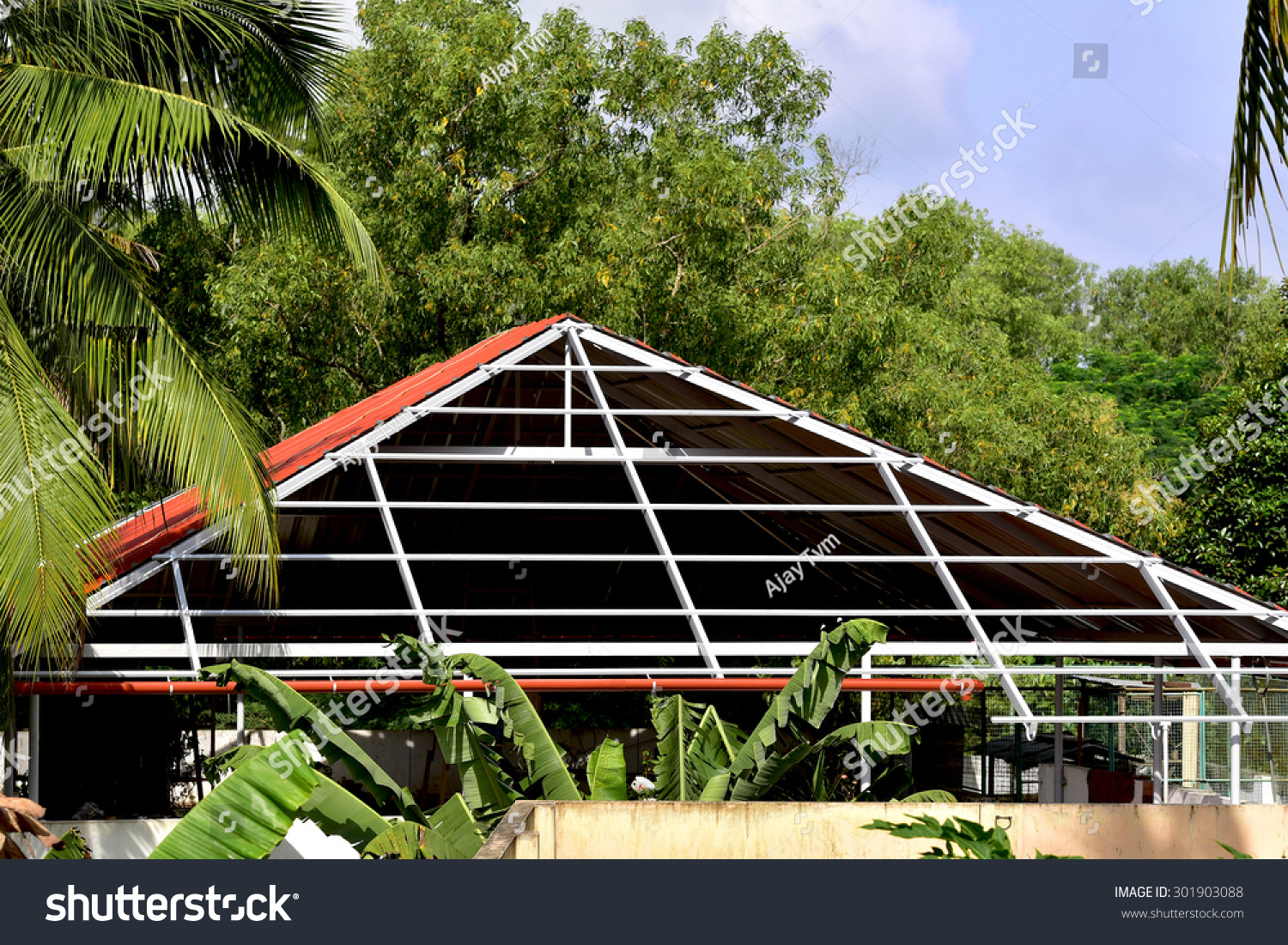 Construction aluminium roof on terrace house stock photo for Terrace roof design india