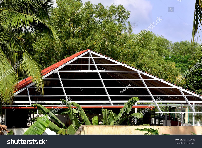 Construction Aluminium Roof On Terrace House Stock Photo