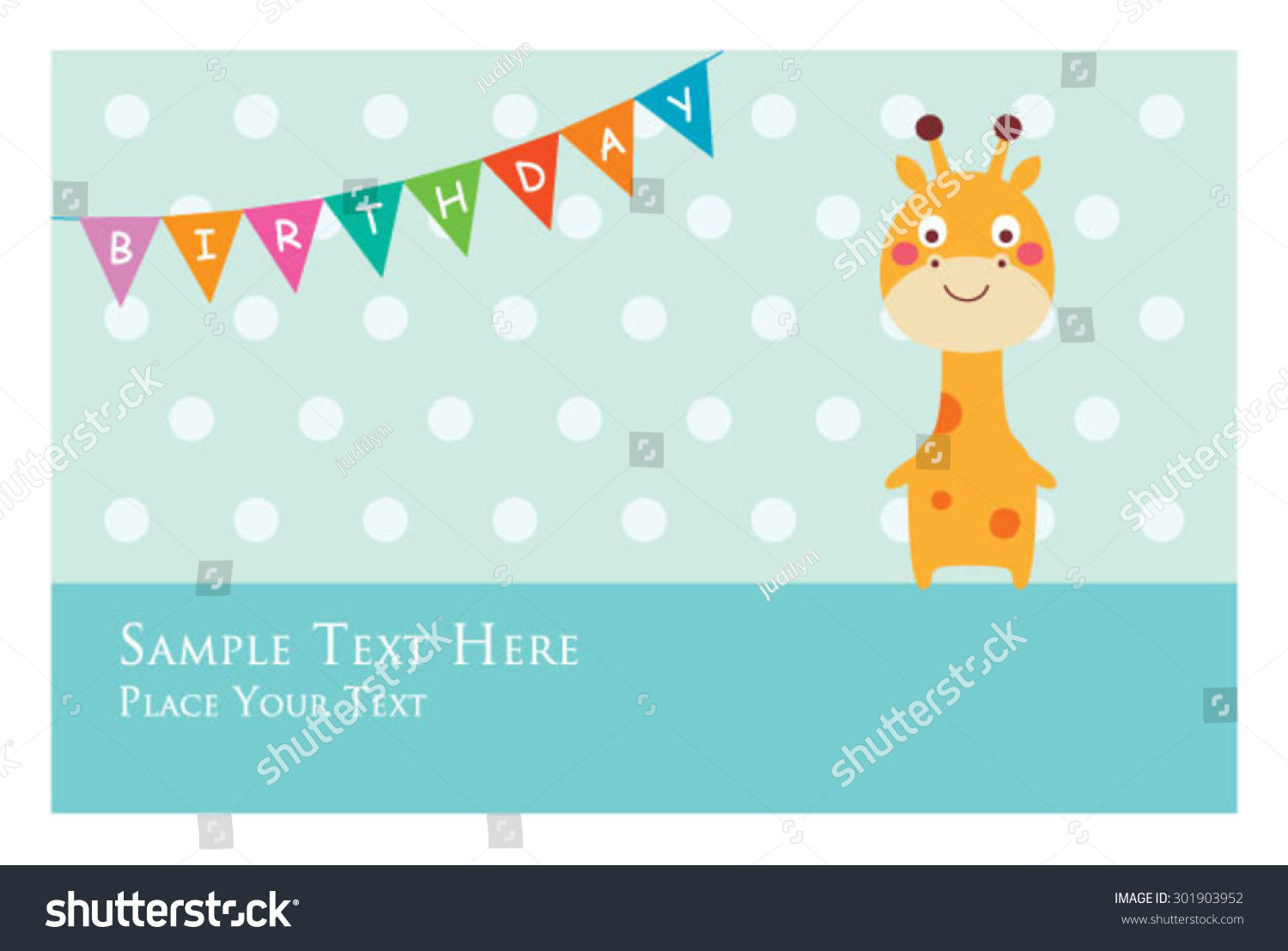 Cute Giraffe Birthday Invitation Card Stock Vector (2018) 301903952 ...