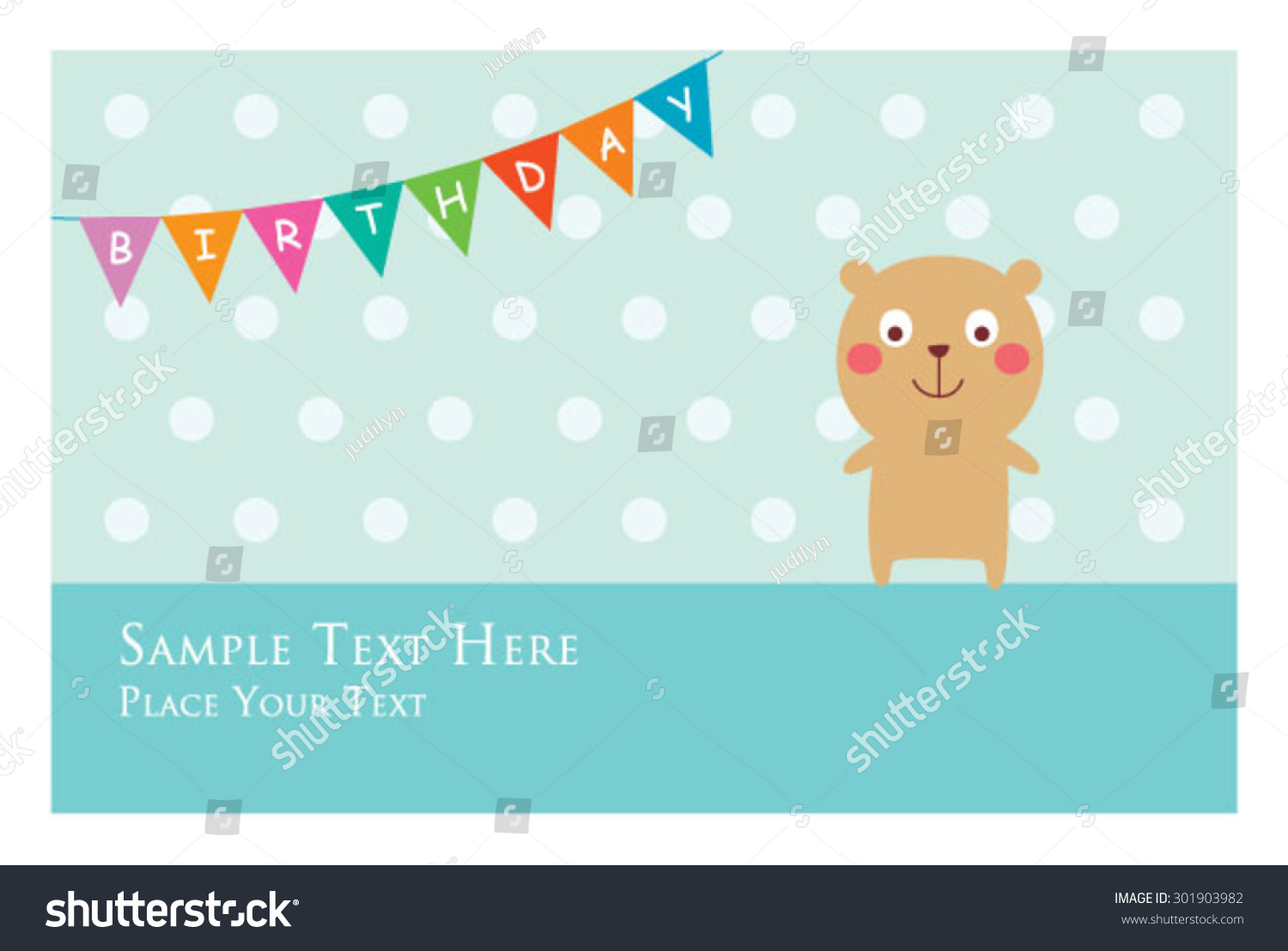 Cute Teddy Bear Birthday Invitation Card Stock Vector 301903982 ...