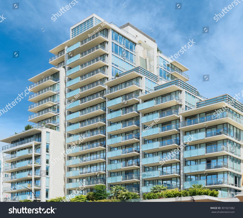 Condominium Apartment: Condominium Apartment Building Asymmetrical Stairstep