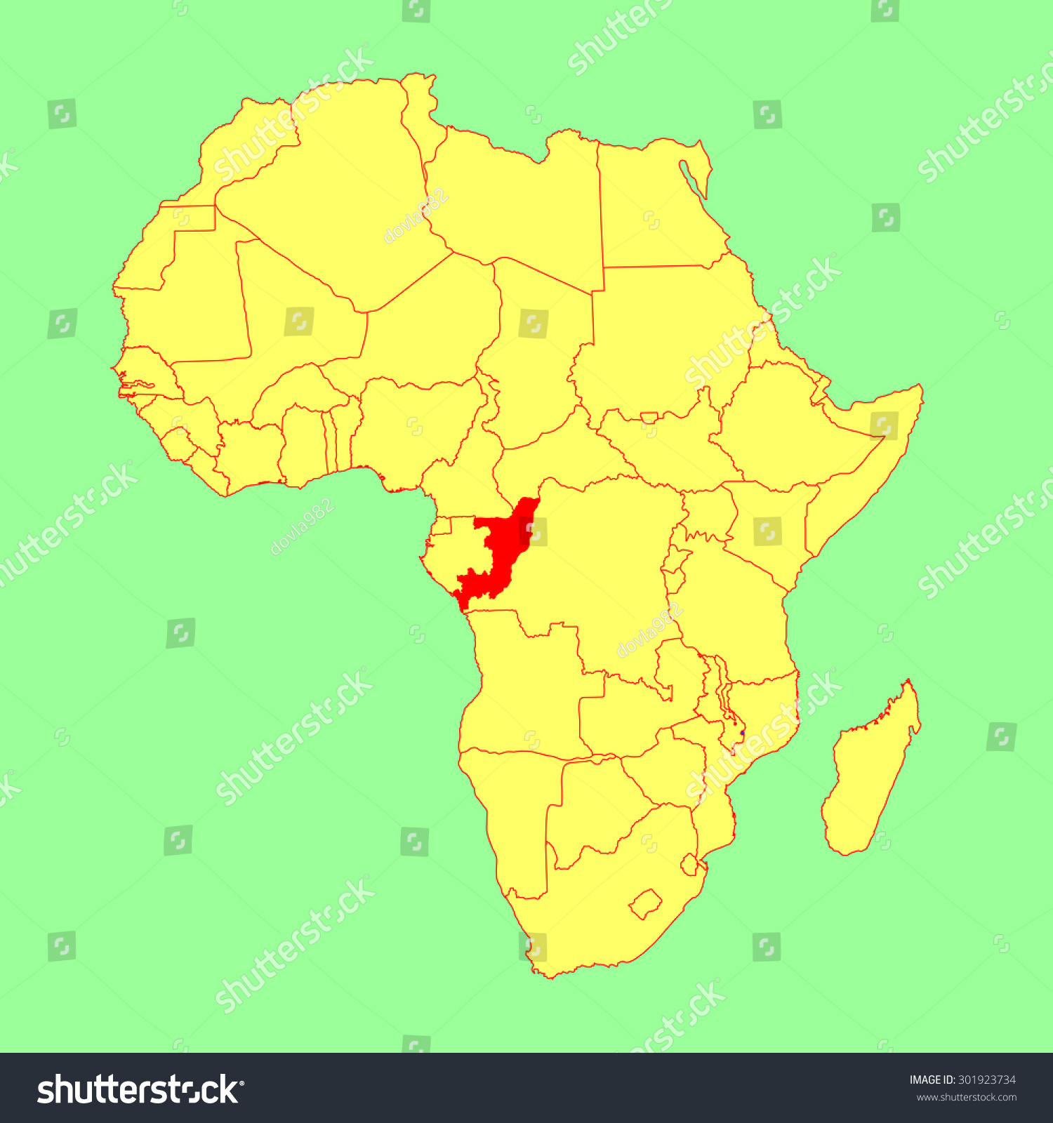 Congo Vector Map Isolated On Africa Stock Vector Royalty Free