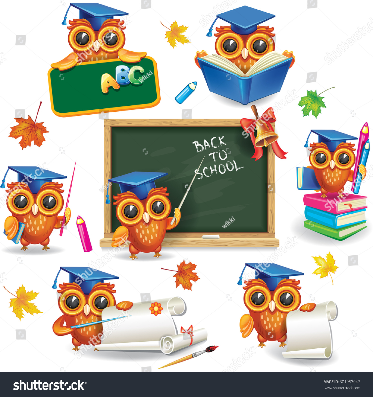 Set Wise Owls Graduation Caps Stock Vector HD (Royalty Free ...