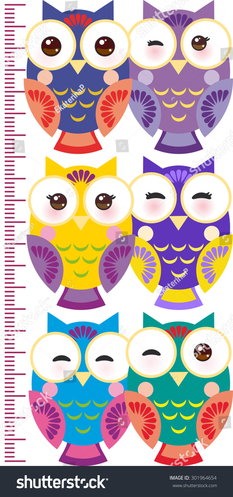 colorful owls children height meter wall stock vector 301964654