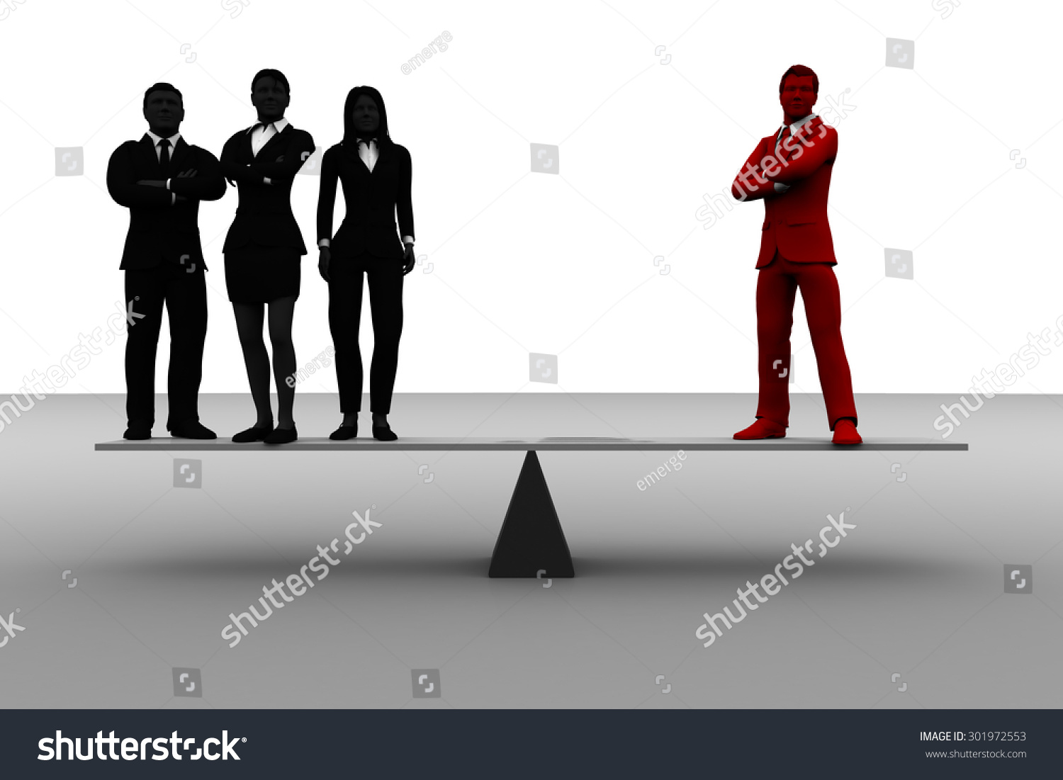 valuable team leader on balance team stock illustration 301972553 valuable team leader on balance a team a team of three successful executives stands