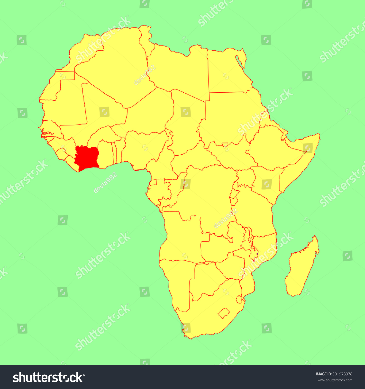 Ivory Coast Vector Map Isolated On Stock Vector Royalty Free 301973378