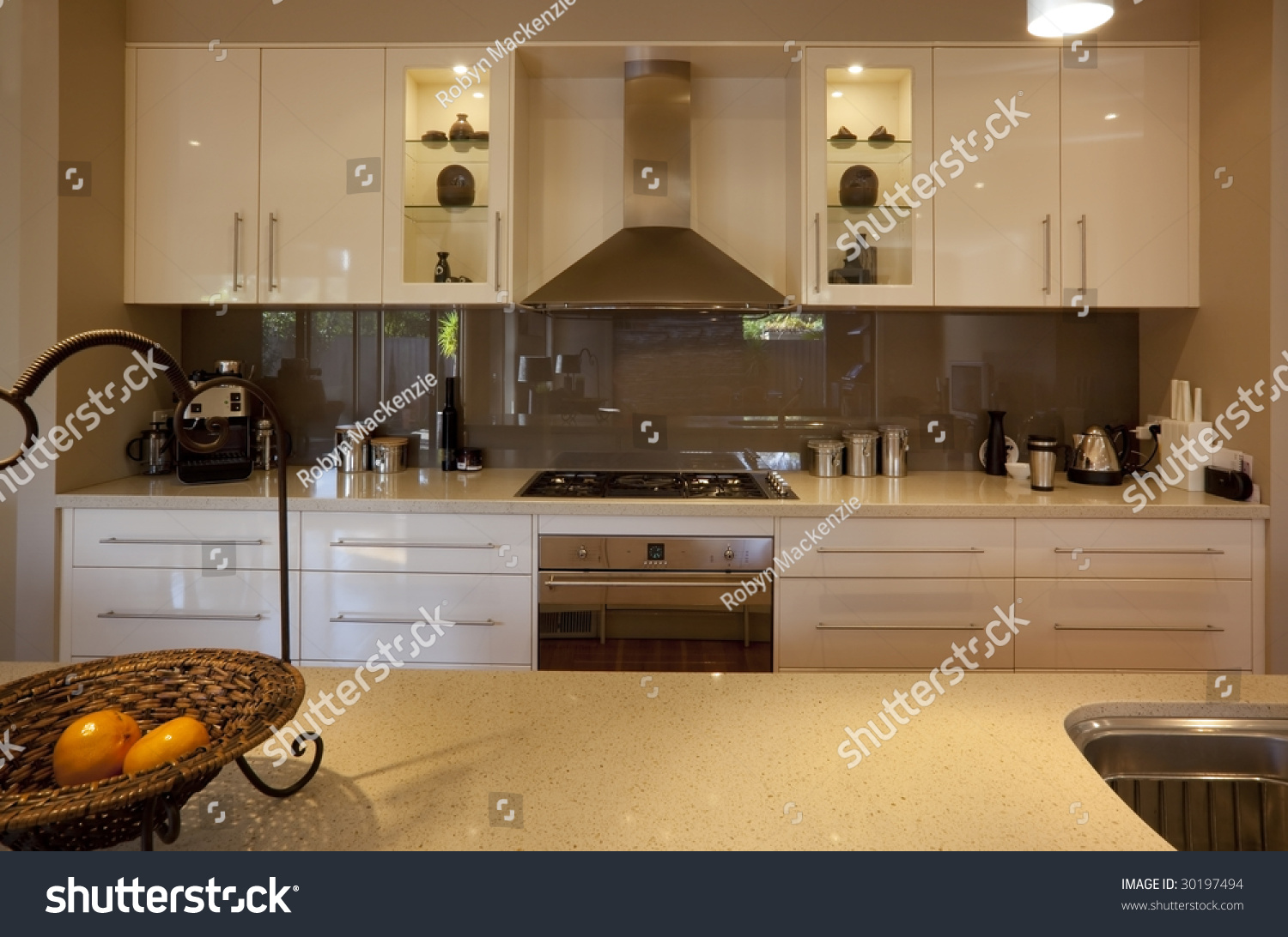 Granite Kitchen Benchtops Modern Kitchen Granite Benchtops Reflective Glass Stock Photo