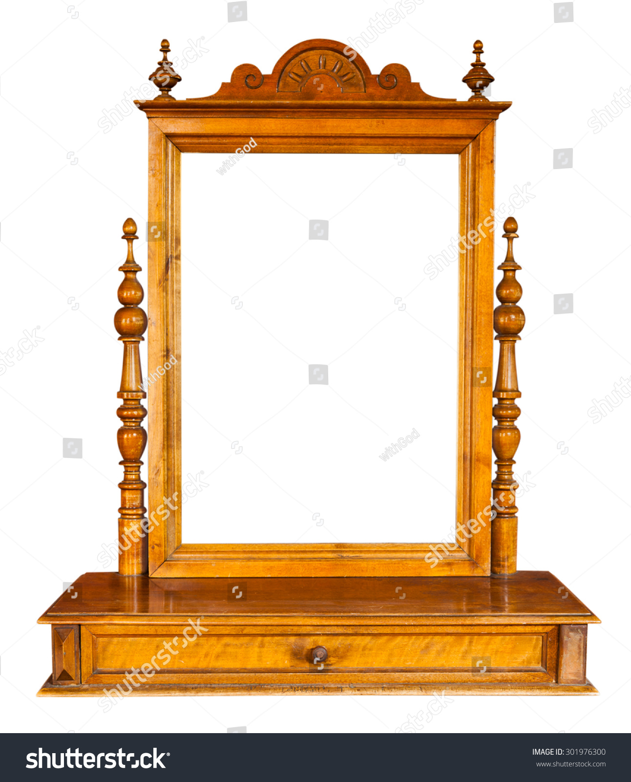 Vintage wooden mirror dressing table isolated stock photo