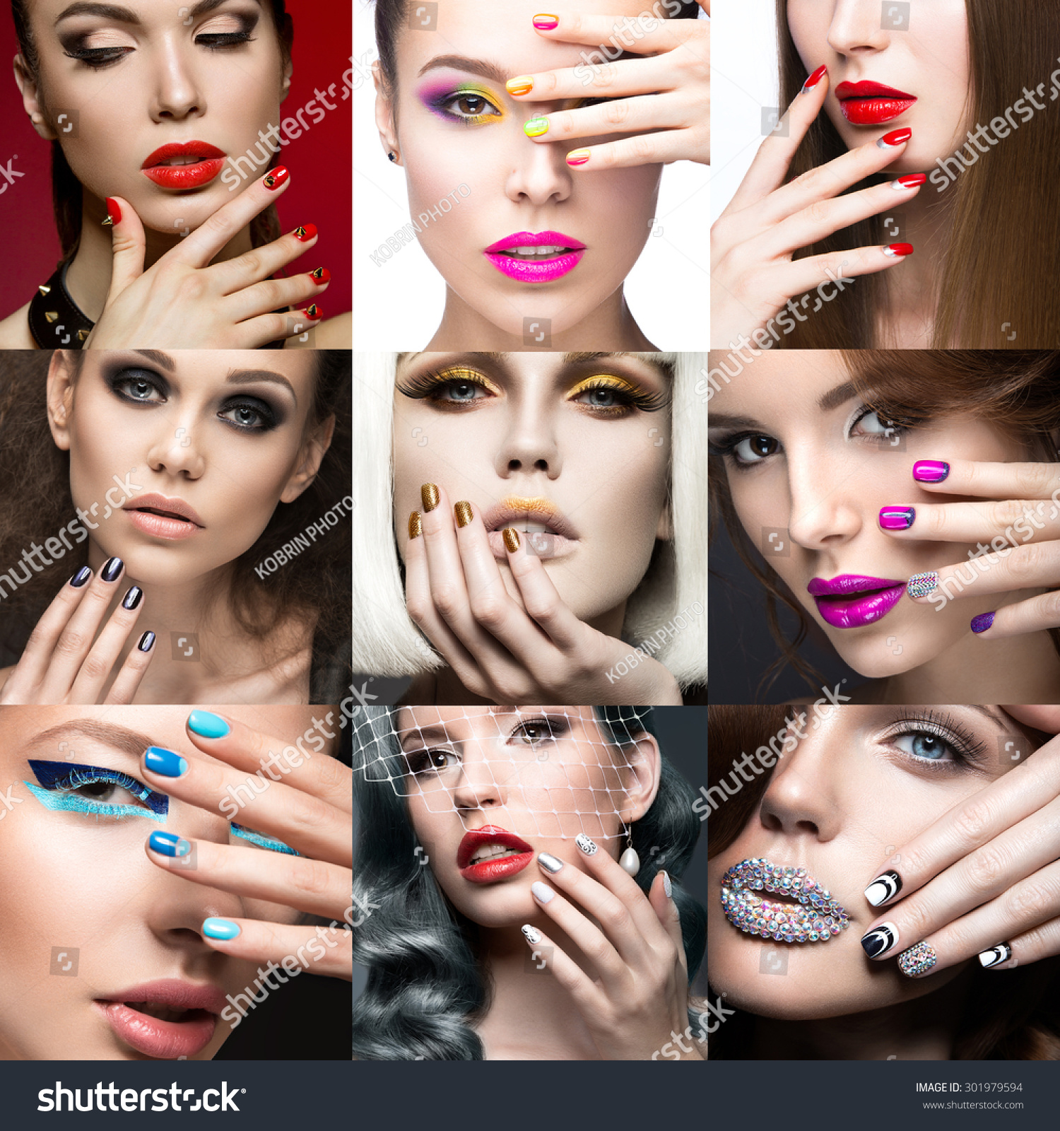 nail art collection beauty face beautiful stock photo 301979594