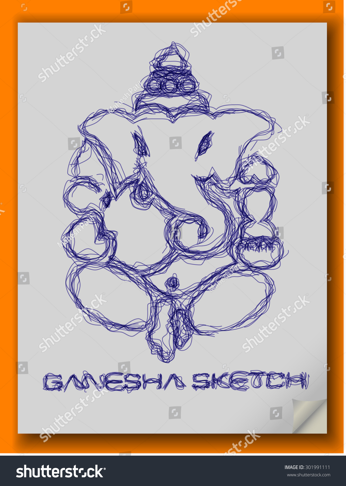 God ganesha pen sketch eps10 vector