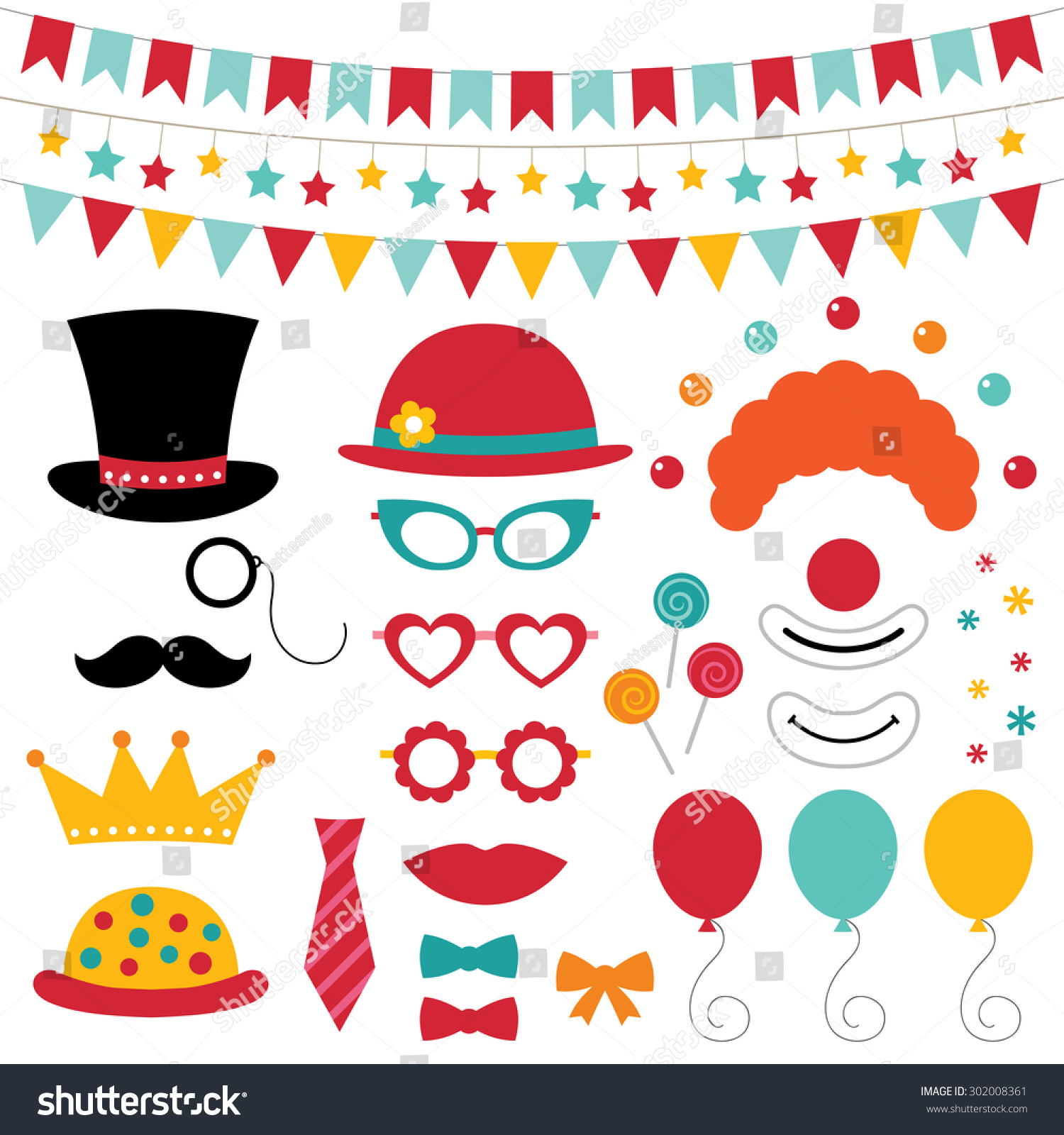 Circus Vector Photo Booth Props Decoration Stock Vector 302008361 ...