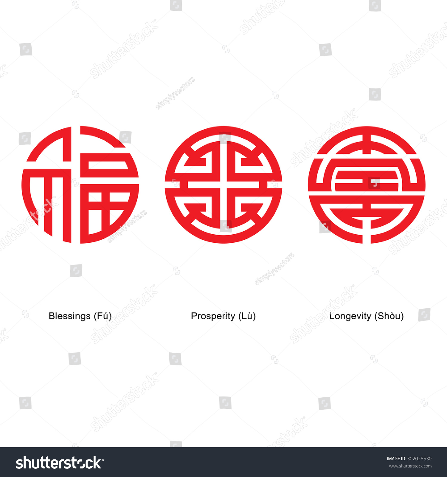 Chinese Lucky Symbols Blessings Prosperity Longevity Stock Vector