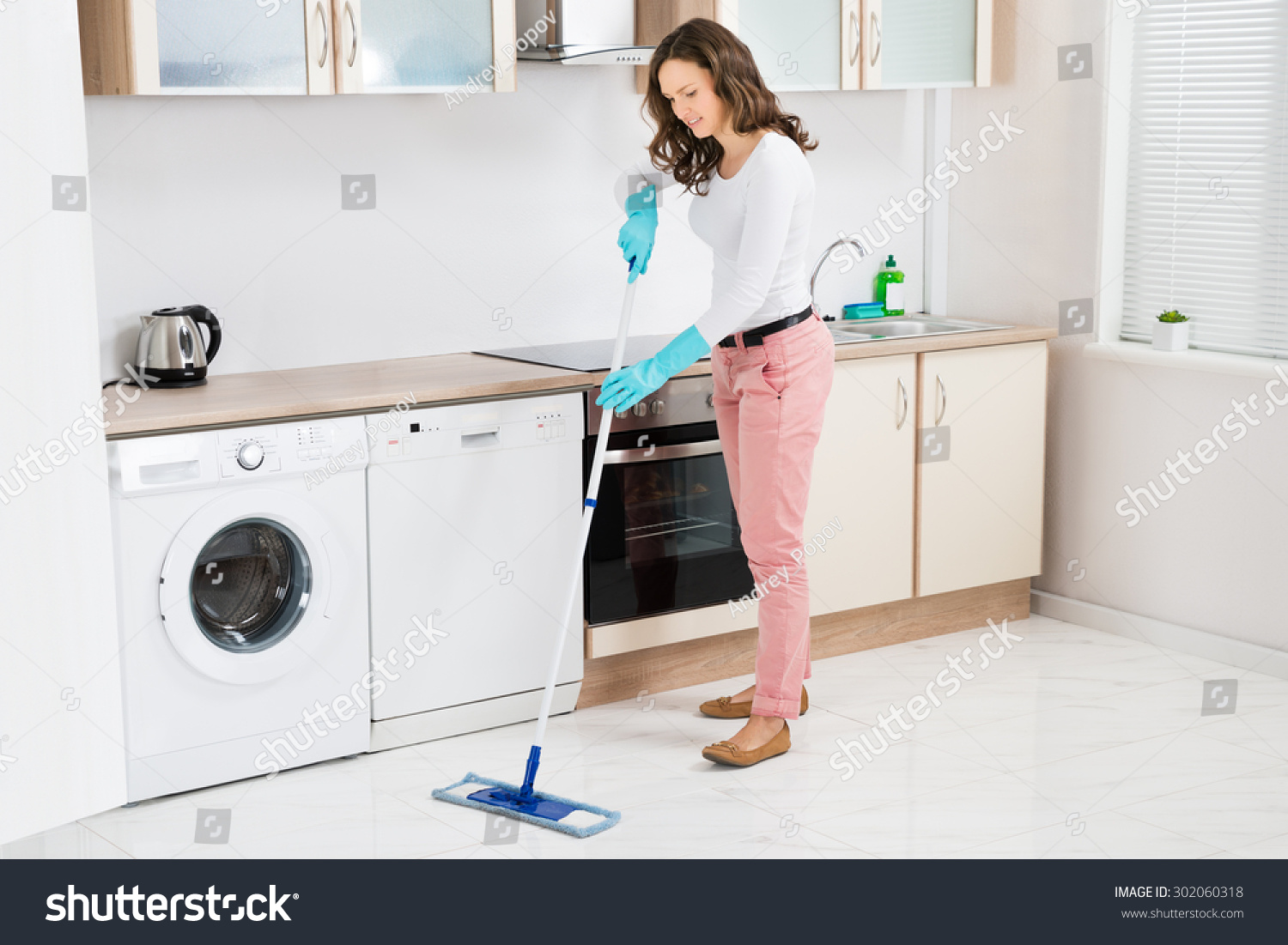 Kitchen Floor Cleaners Happy Woman Cleaning Floor Mop Kitchen Stock Photo 302060318