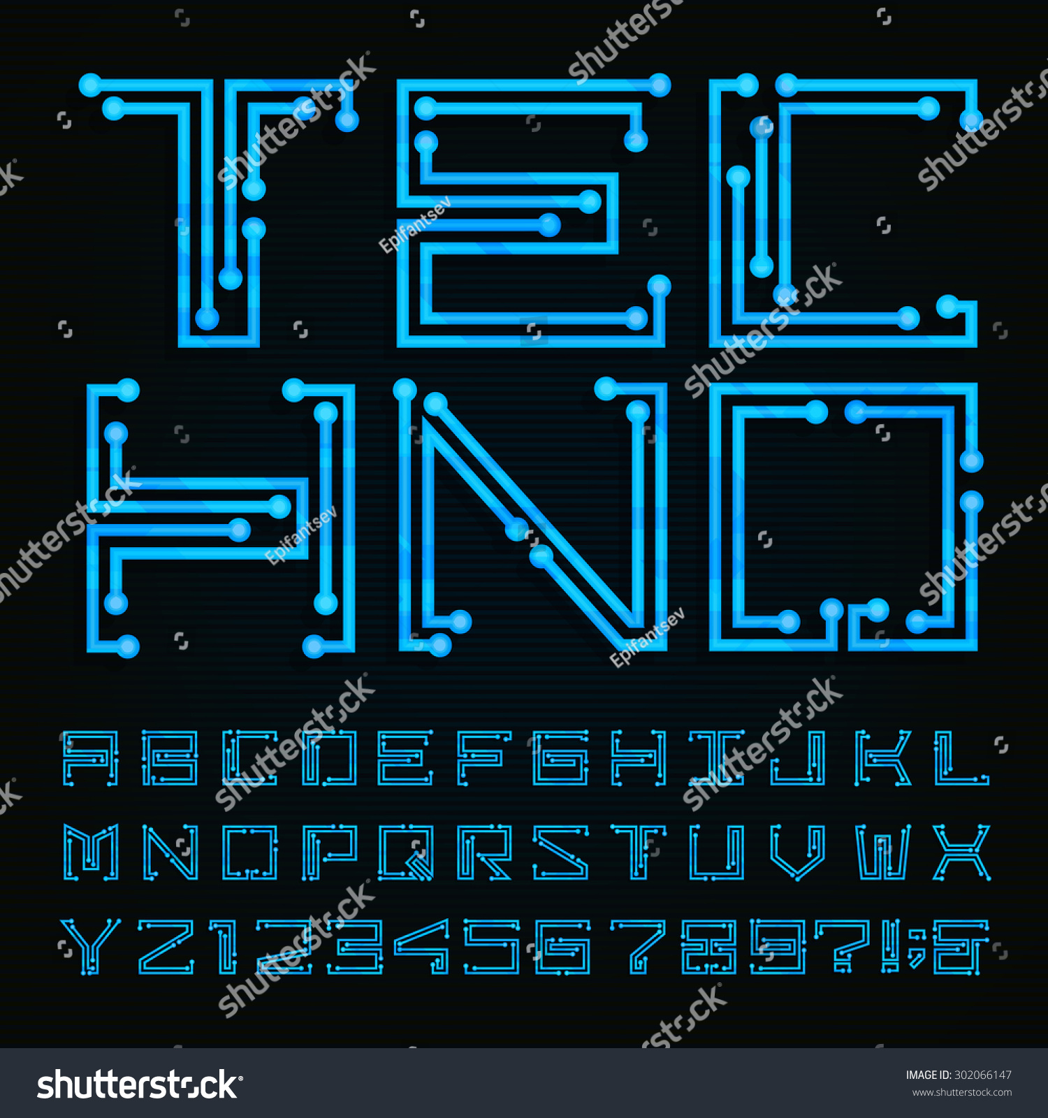 Techno type font alphabet digital hitech style stock vector techno type font alphabet digital hi tech style letters numbers and symbols on biocorpaavc Images
