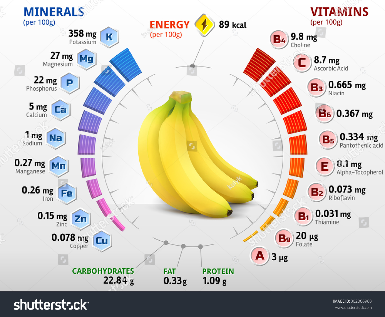 vitamins minerals banana fruit infographics about stock vector 302066960 shutterstock