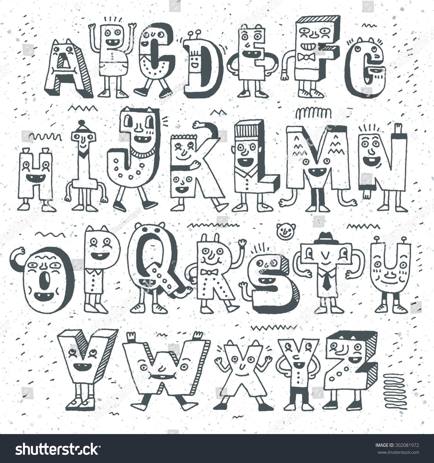 Fantastic Funny Alphabet Wacky Doodle Letters Stock Vector ...