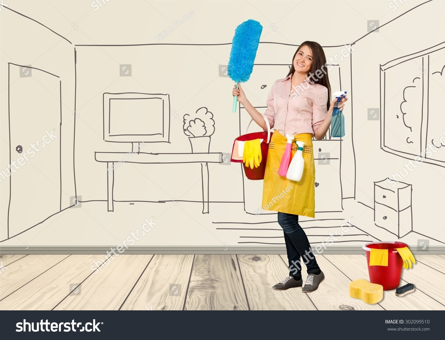 Cleaning house bucket stock photo 302099510 shutterstock for House cleaning stock photos