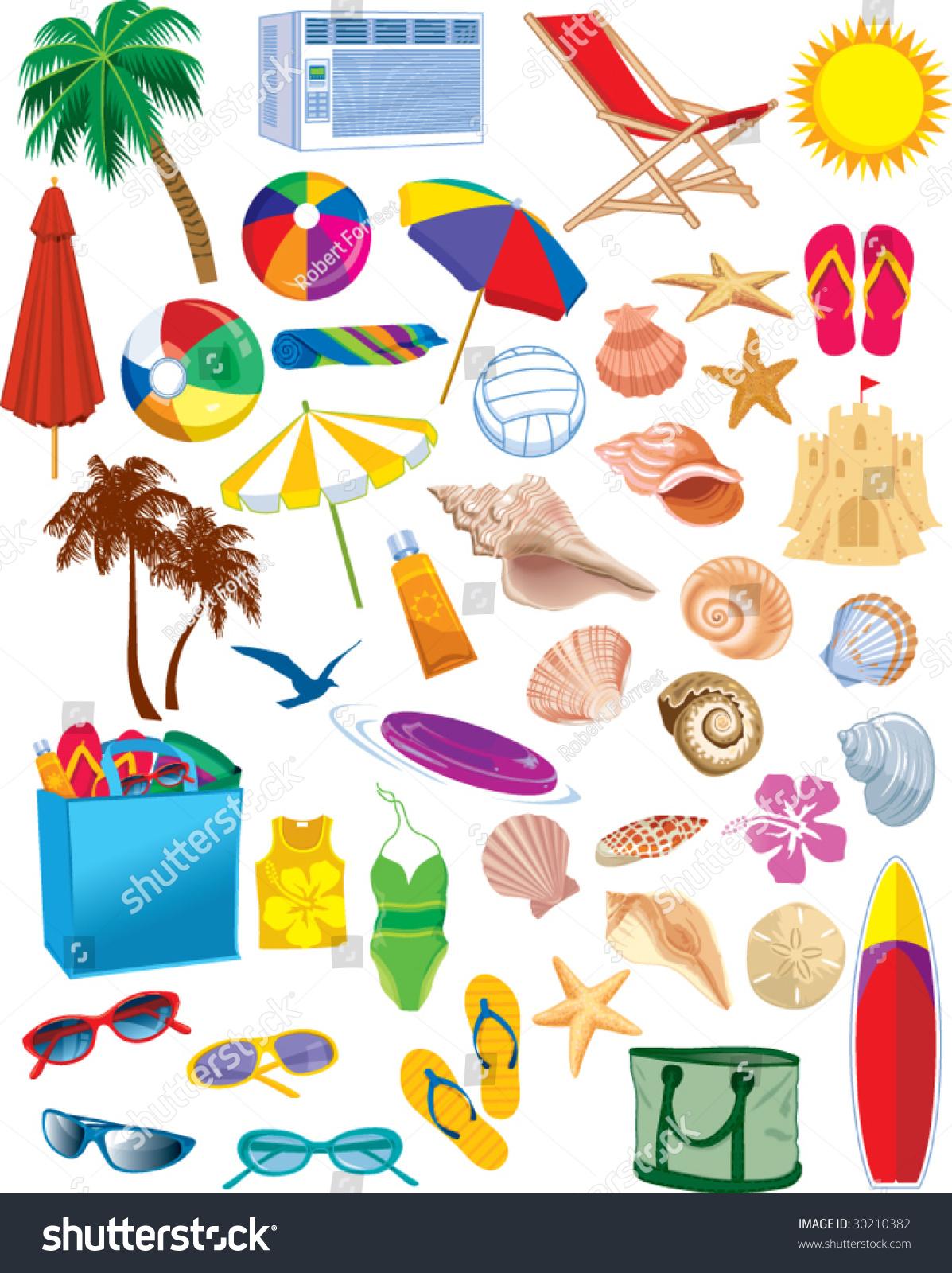 Beach Items Vectors Stock Vector 30210382 - Shutterstock